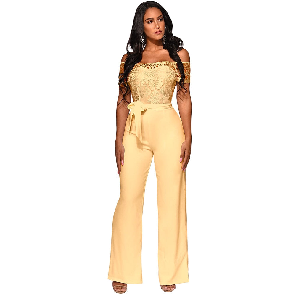 Off Shoulder Lace Appliques Jumpsuit