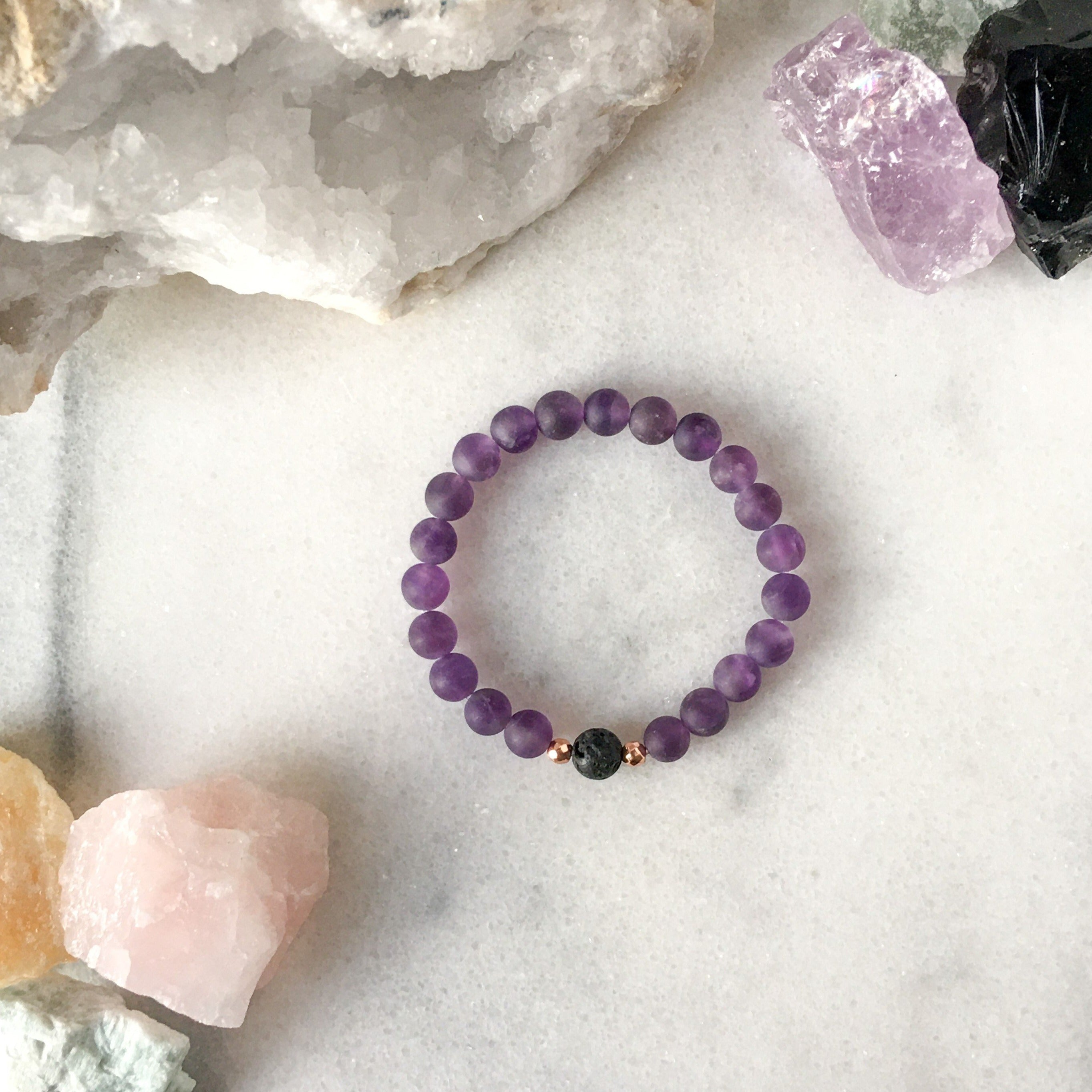 Simplicity Collection - Amethyst + Lava Stone Diffuser Bracelet - Beneva Designs