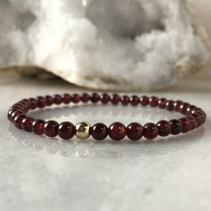 Simplicity Collection - 4mm Garnet Bracelet