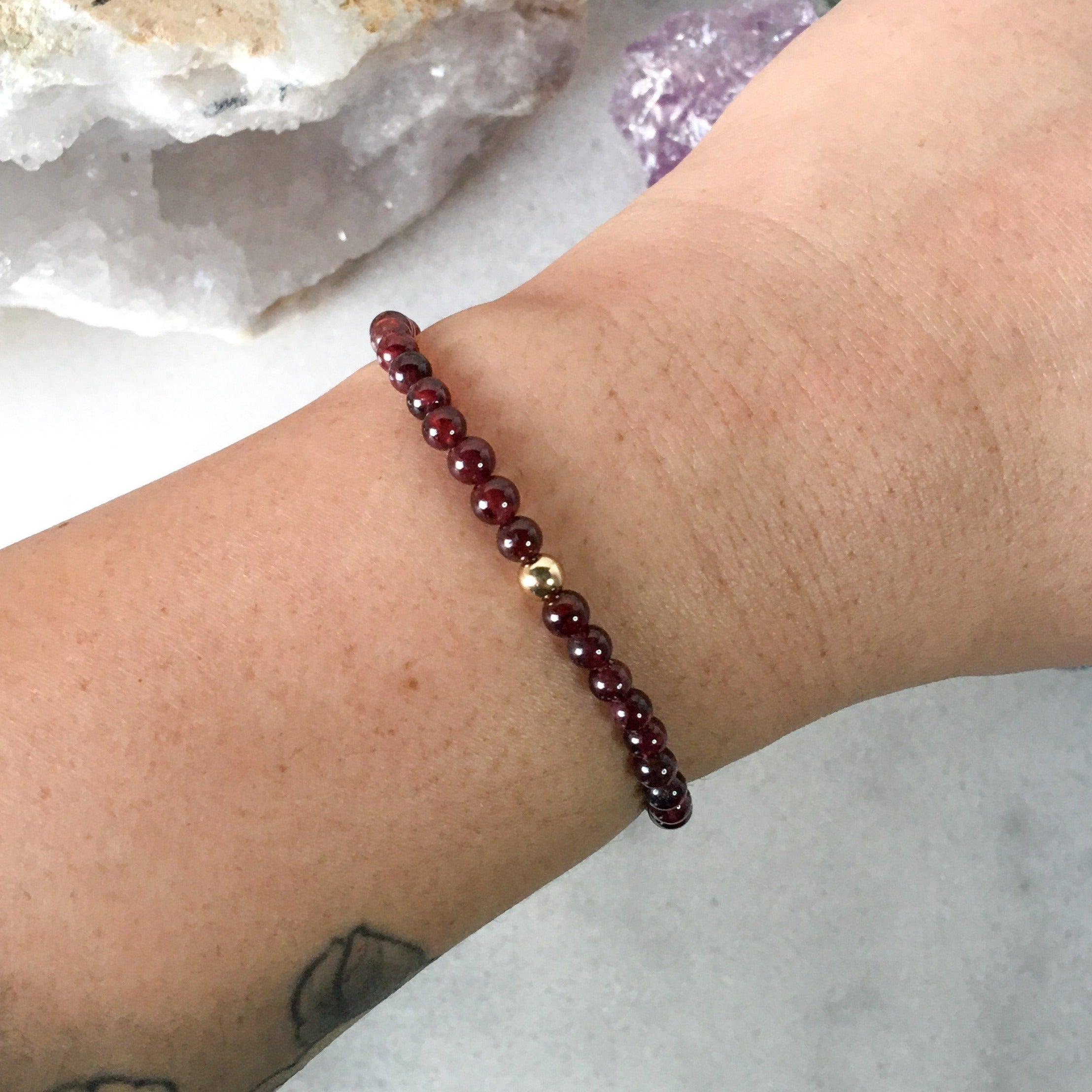 Simplicity Collection - 4mm Garnet Bracelet - Beneva Designs