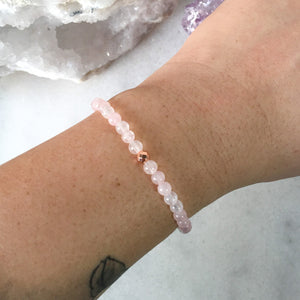 Simplicity Collection - 4mm Rose Quartz Bracelet - Beneva Designs