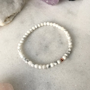 Simplicity Collection - 4mm Howlite Bracelet - Beneva Designs