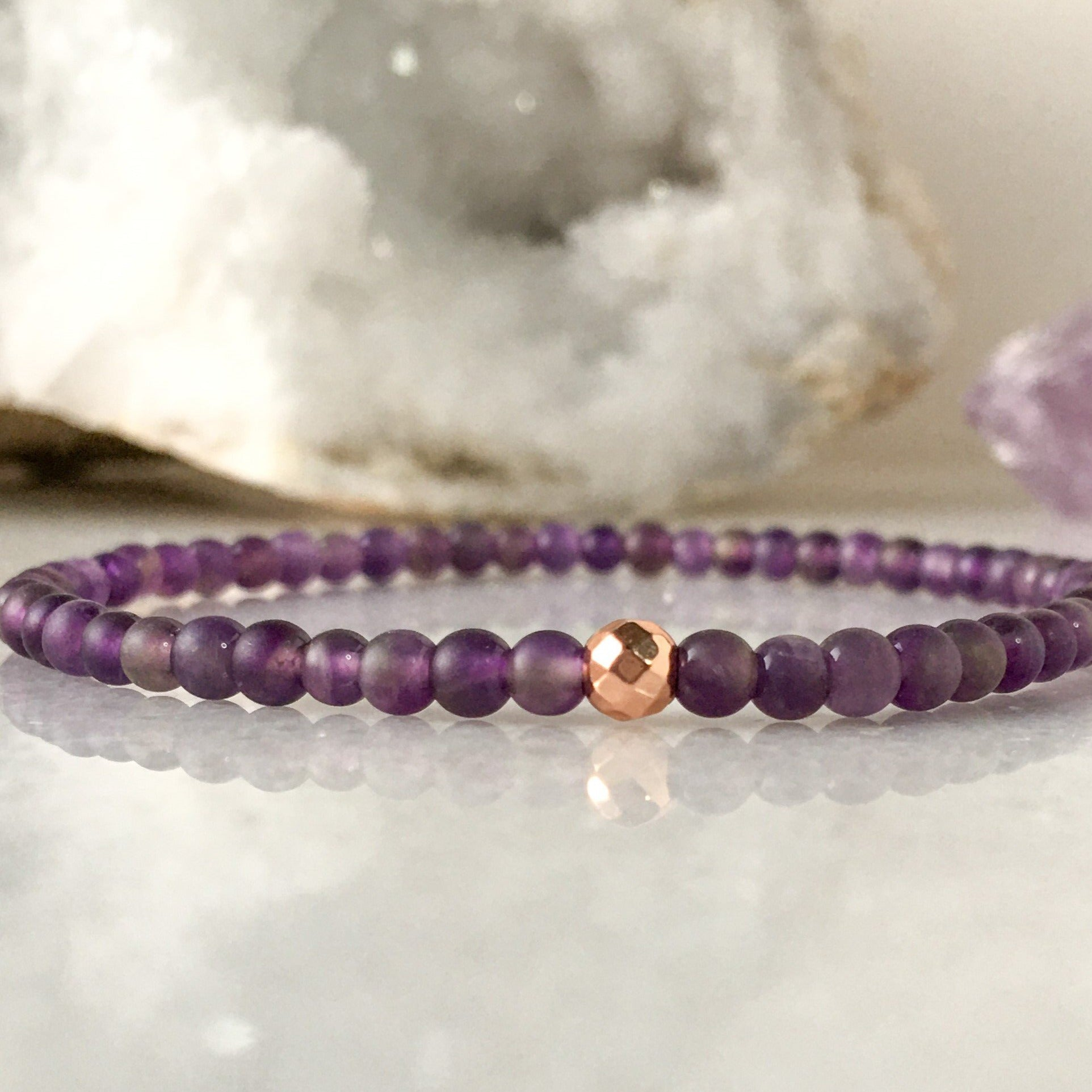 Simplicity Collection - 4mm Amethyst Bracelet - Beneva Designs