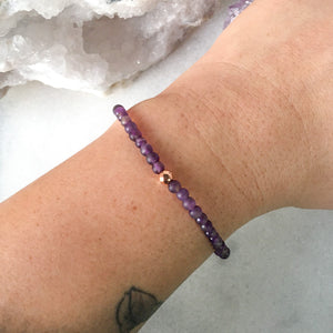Simplicity Collection - 4mm Amethyst Bracelet