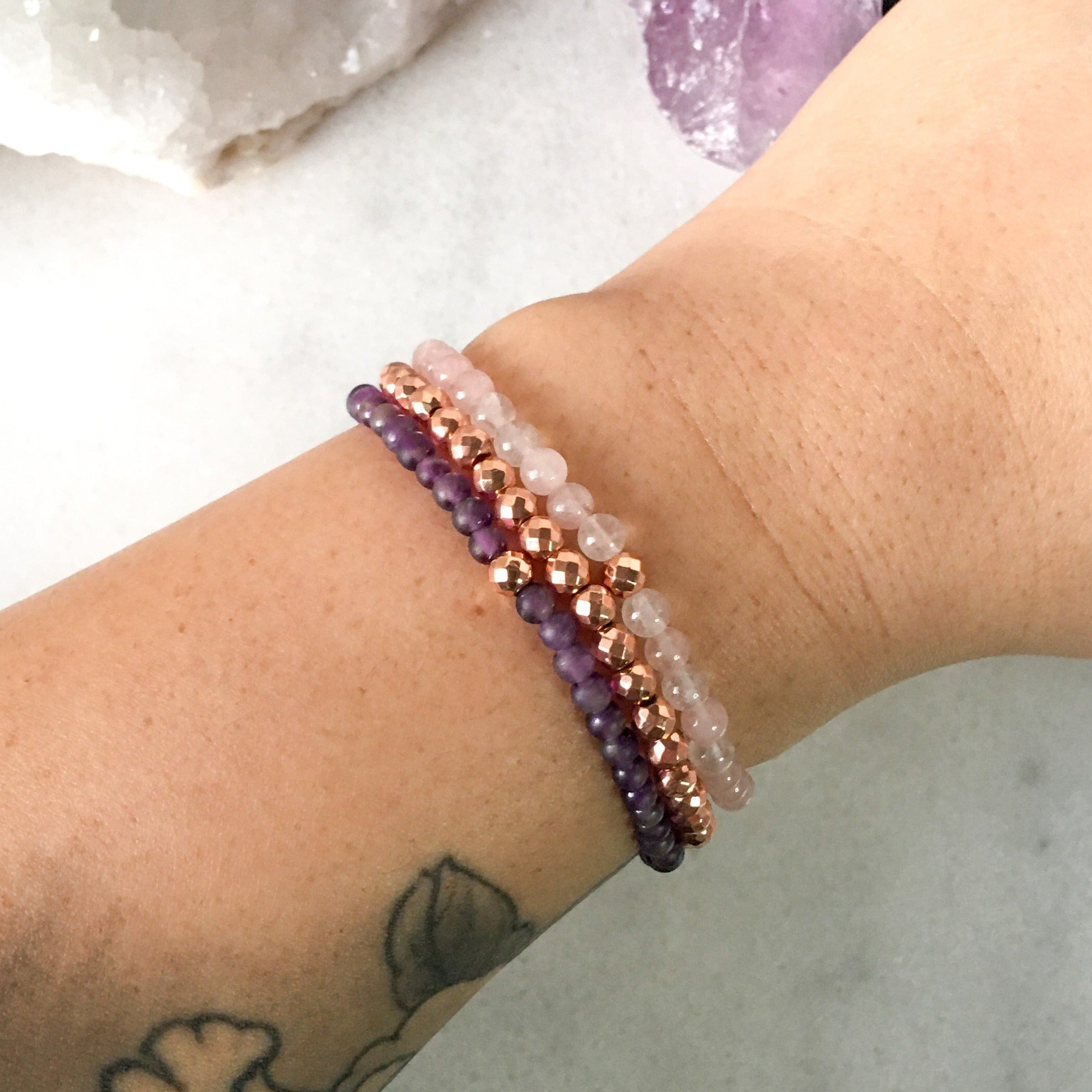 Simplicity Collection - Mini Set - Amethyst + Rose Quartz - Beneva Designs