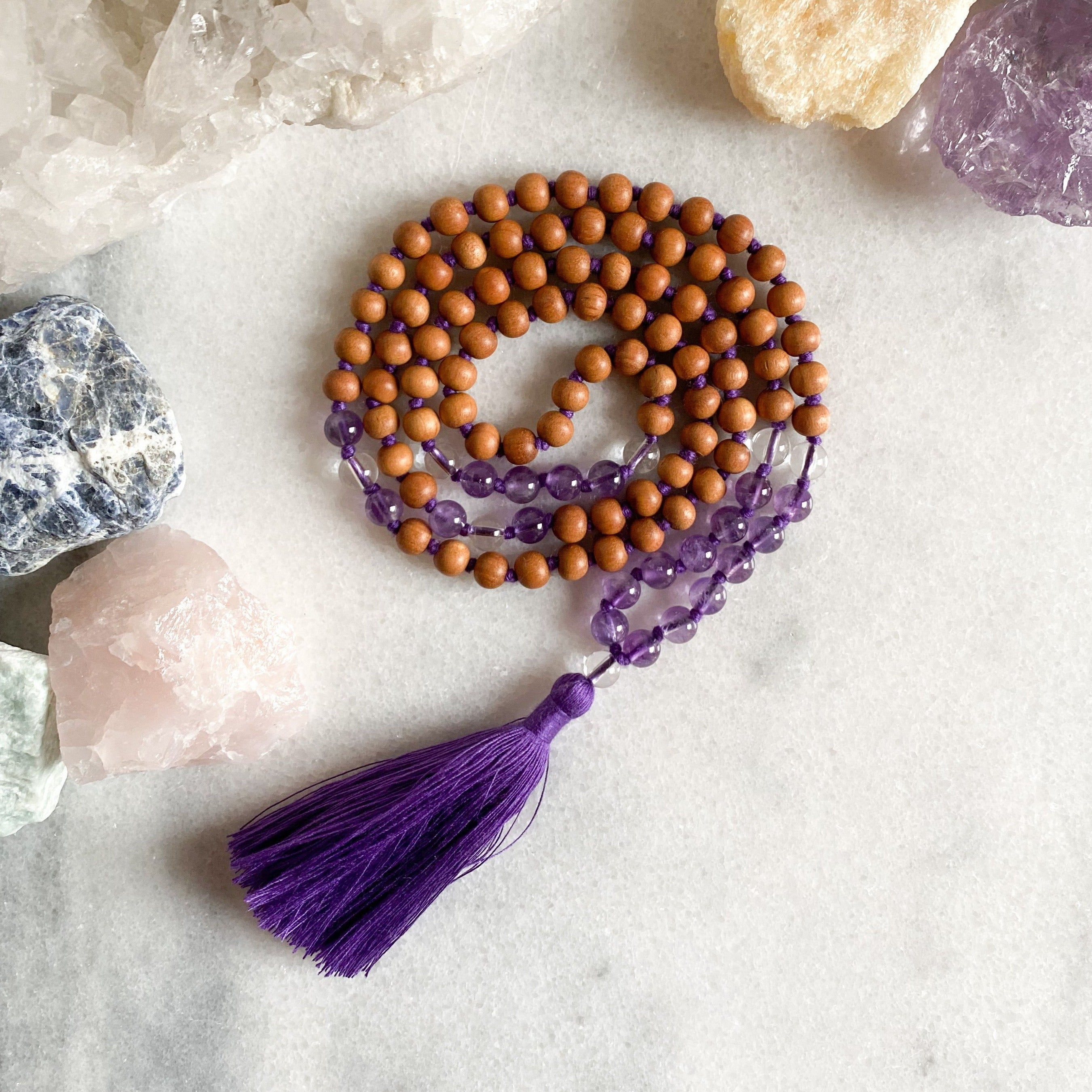 Malas for Hope - Amethyst + Sandalwood