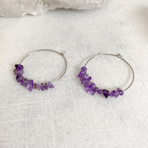 Amethyst Hoop Earrings