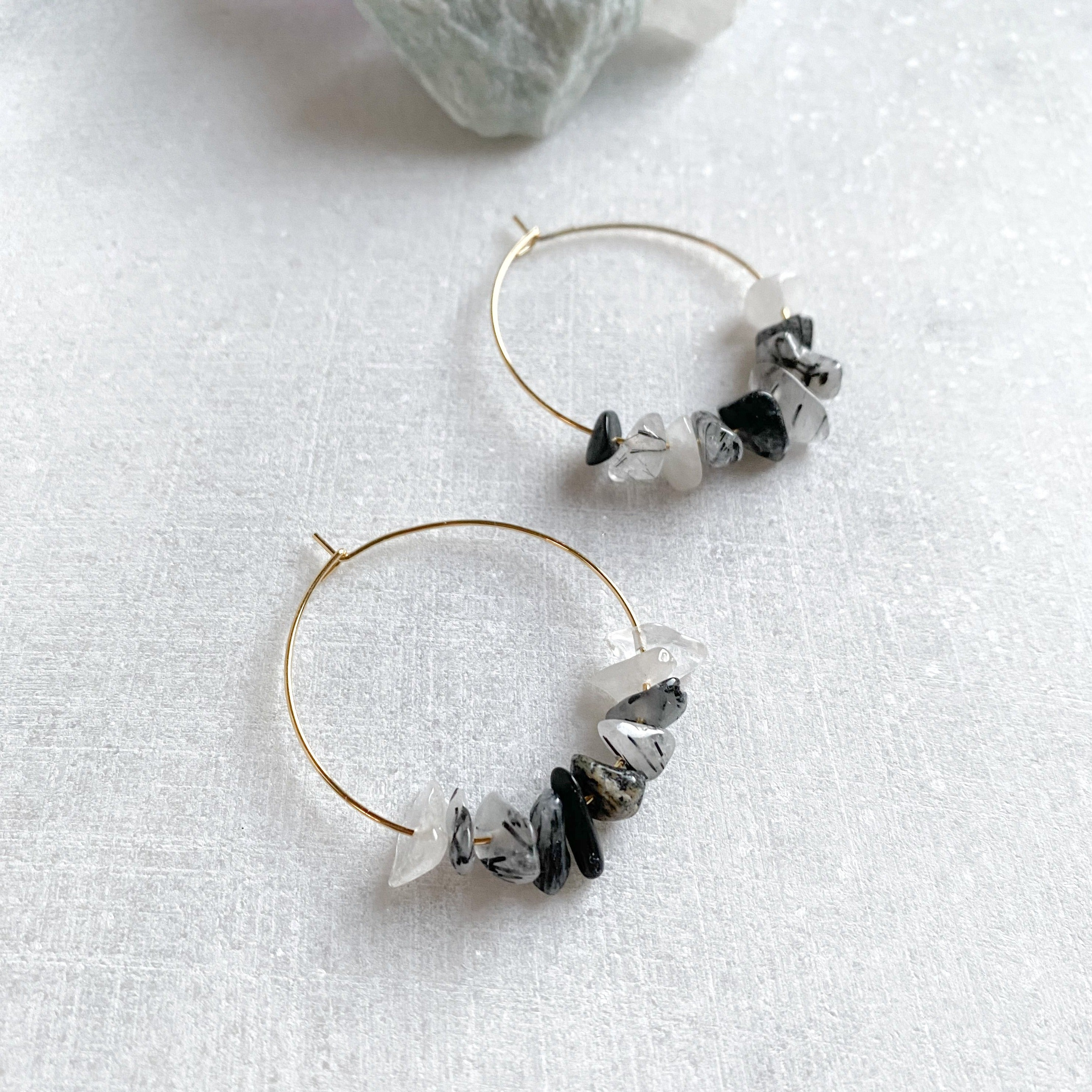 Tourmalinated Quartz Hoop Earrings