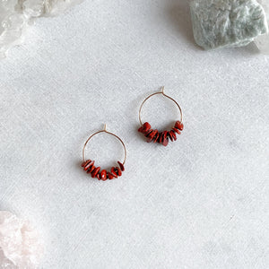 Red Agate Hoop Earrings