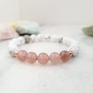 Strawberry Quartz + White Howlite Diffuser Bracelet for Aromatherapy