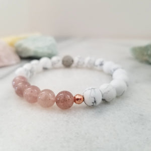 Strawberry Quartz + White Howlite Diffuser Bracelet for Aromatherapy - Beneva Designs