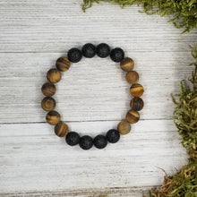 Load image into Gallery viewer, Men's Diffuser Bracelet Tigers Eye + Lava Basalt Stone 10mm