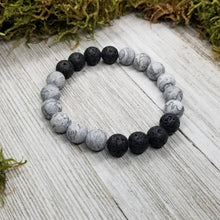 Load image into Gallery viewer, Men's Bracelet Mapstone + Lava Basalt Stone Diffuser Bracelet for Aromatherapy