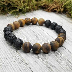 Men's Diffuser Bracelet Tigers Eye + Lava Basalt Stone 10mm