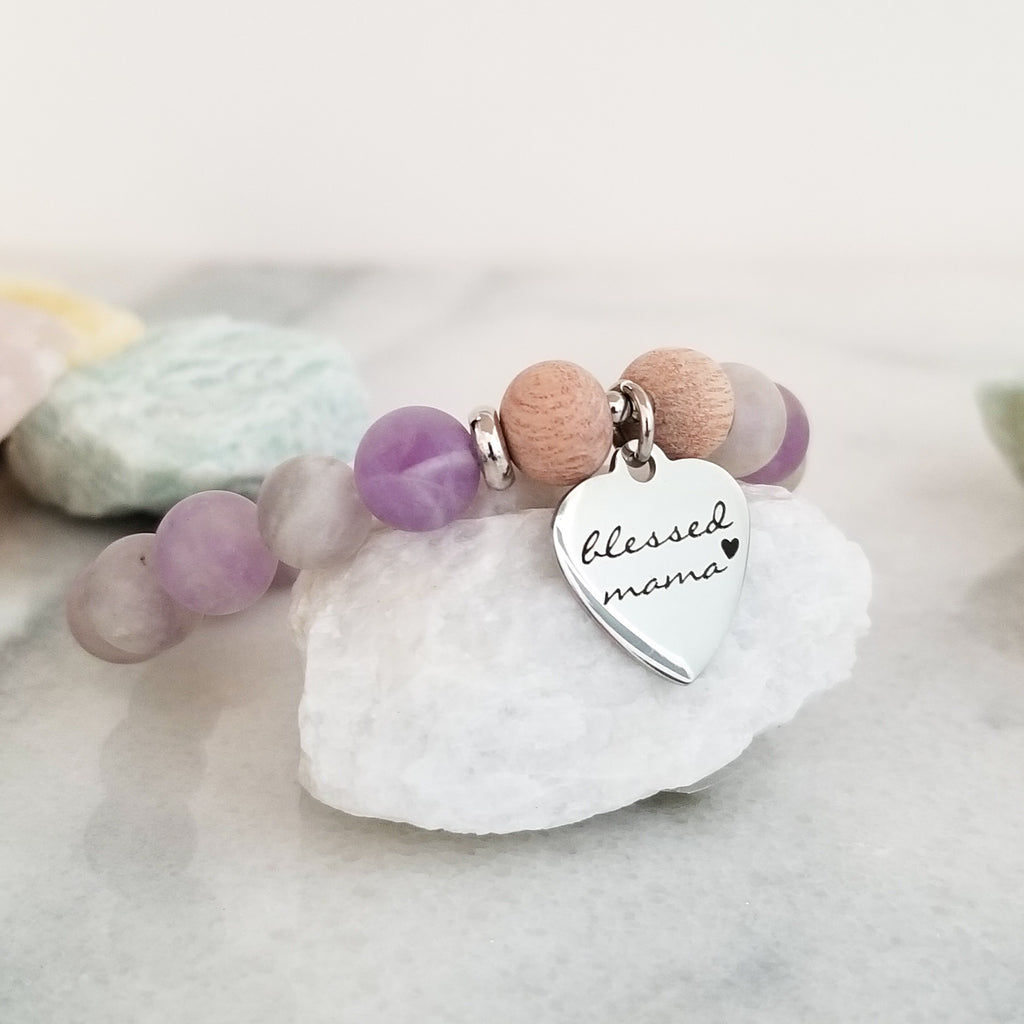 Lilac Jasper + Rosewood Blessed Mama Charm - Beneva Designs