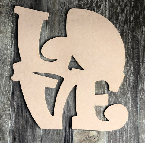 Blank Football Love Door Hanger