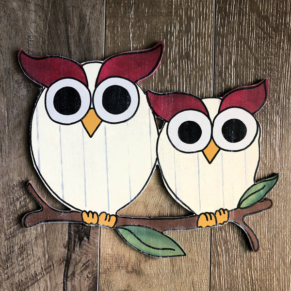 Blank Owls on a Branch Door Hanger