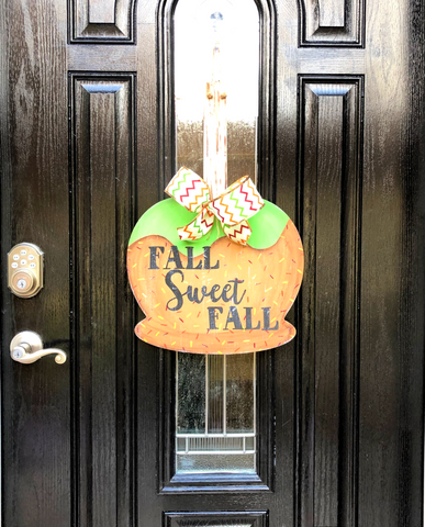 Fall Sweet Fall Candy Apple Door Hanger