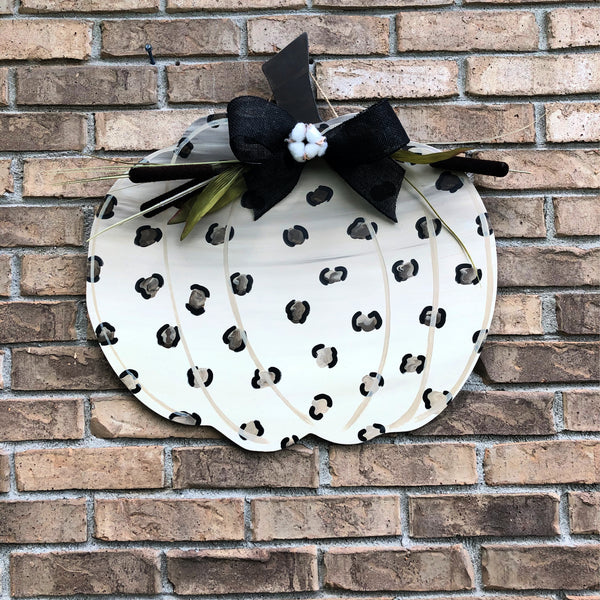 Fall Leopard Print Pumpkin Door Hanger
