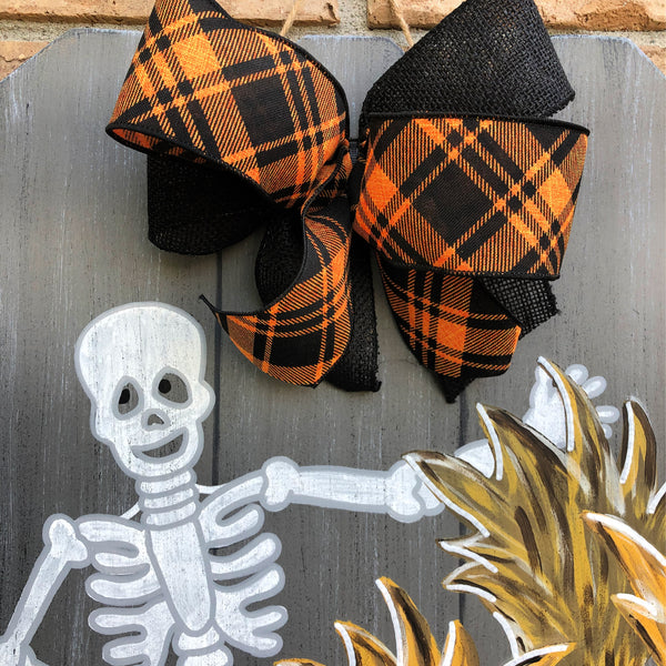 Fall Harvest Skeleton Door Hanger