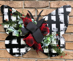 Buffalo Plaid Butterfly Door Hanger