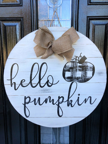 Hello Pumpkin Door Hanger