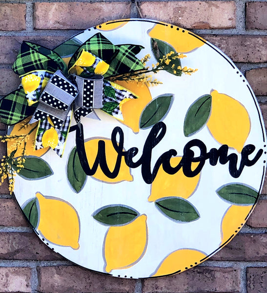 Lemon Circle Welcome Door Hanger