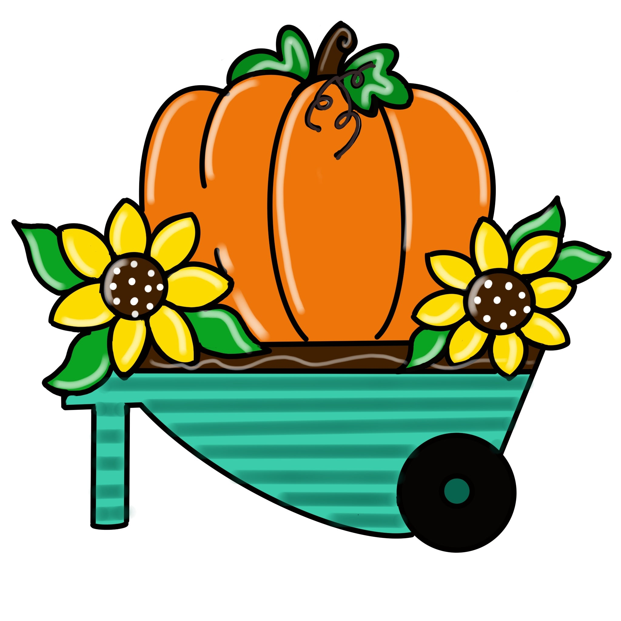 Pumpkin Wheelbarrow Door Hanger Template & Digital Cut Files