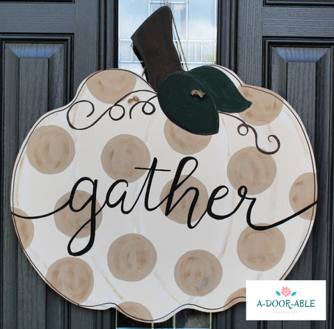 Gather Pumpkin Door Hanger