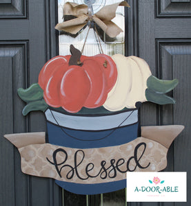 Pumpkin Bucket Door Hanger
