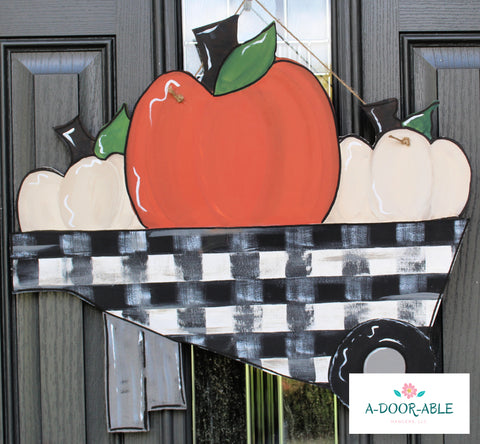 Pumpkin Wheelbarrow Door Hanger