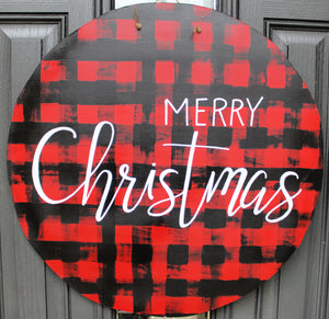 Circle -Merry Christmas - Red/Black Buffalo Plaid