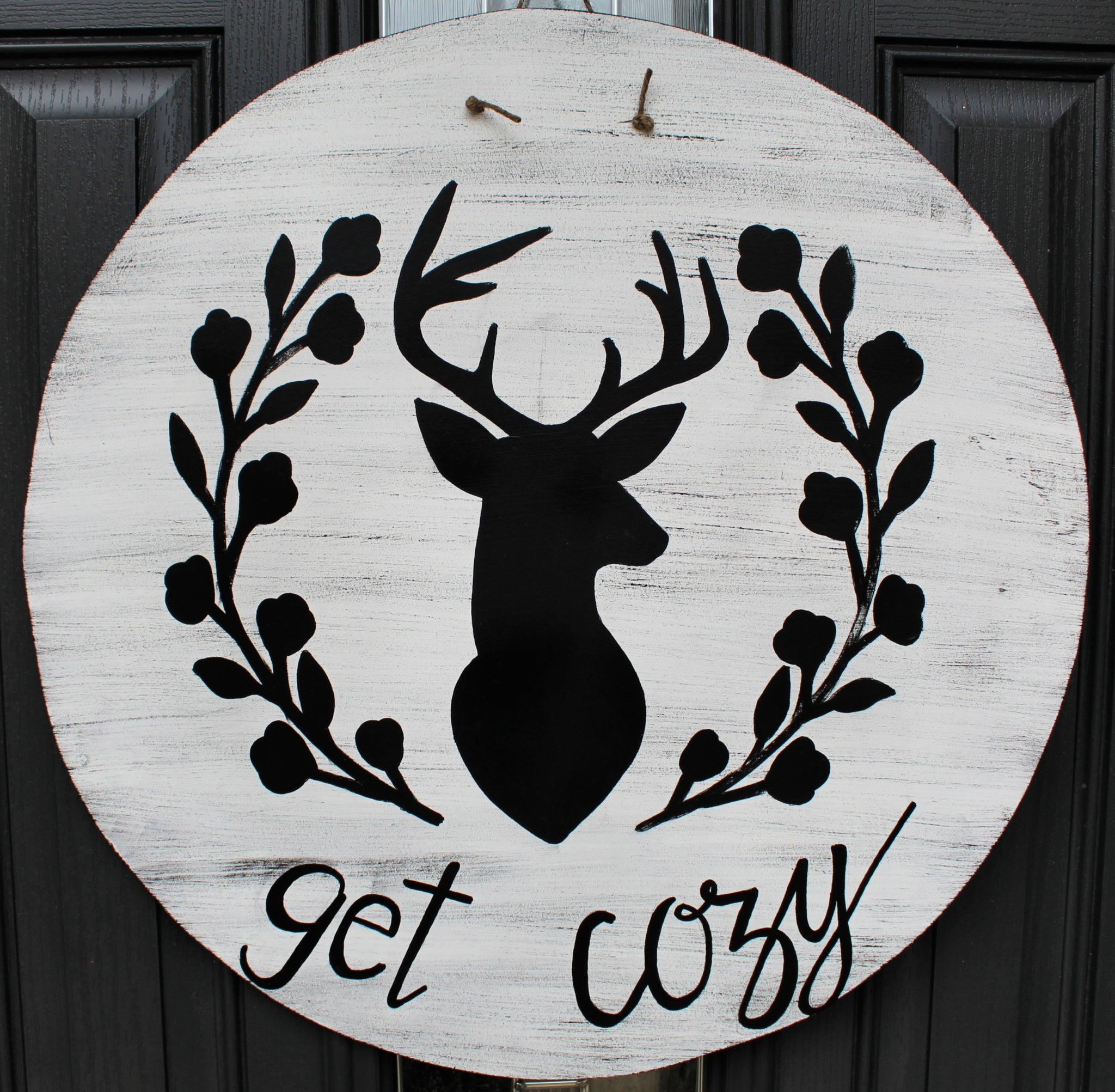 Circle - Get Cozy Deer - White