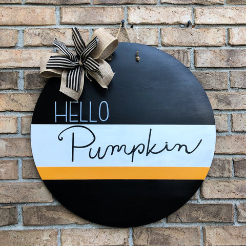 Hello Pumpkin Round Door Hanger