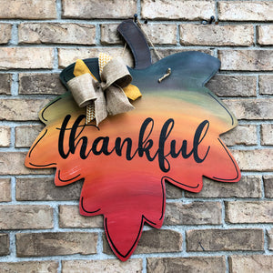 Thankful Leaf Ombre Door Hanger