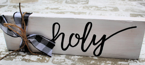 Word Block - Holy - White