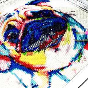 Colourful Pug 3D Diamond Painting Kit 30 x 30cm