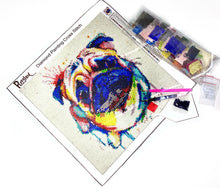 Load image into Gallery viewer, Colourful Pug 3D Diamond Painting Kit 30 x 30cm