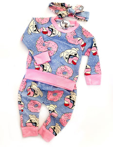Donuts & Pugs 3 piece Baby Outfit