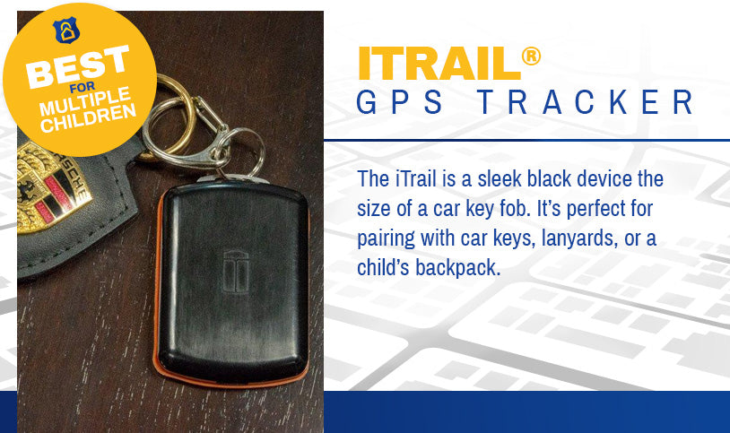 Best for Multiple Children iTrail Button Rechargeable Active Keychain GPS Tracker
