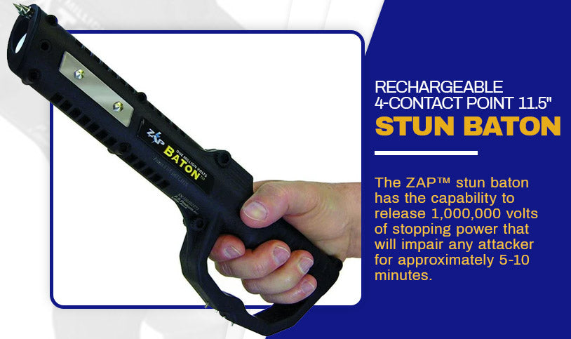 RECHARGEABLE 4-CONTACT POINT 11.5 STUN BATON