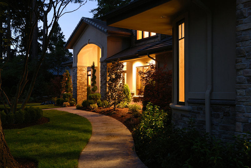 exterior of home at twilight