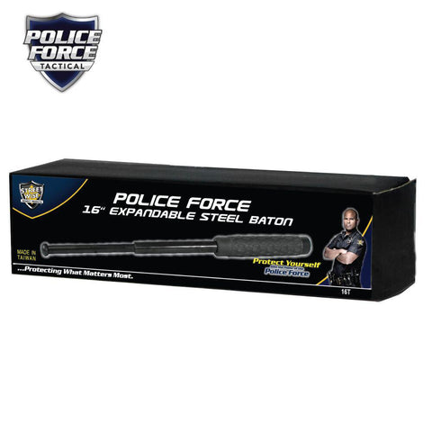 Police Force Tactical Expandable Solid Steel Baton 16''