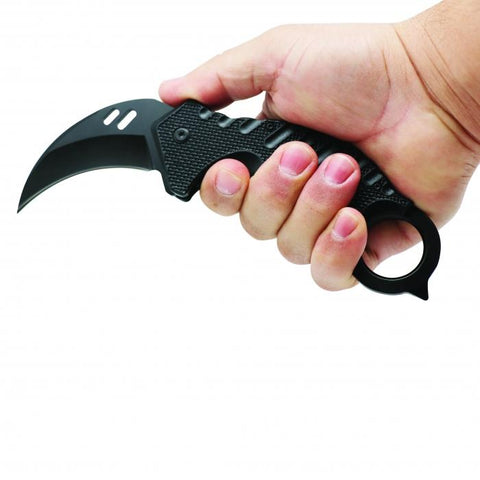ElitEdge® Steel Karambit Folding Knife Black 7.25""