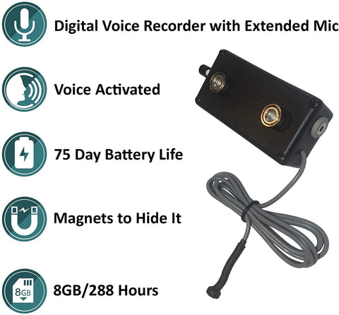 Black Vox Voice Activated Rechargeable Recorder w/ External Mic