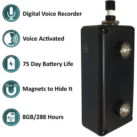 Black Vox Voice Activated Rechargeable Recorder w/ Internal Mic