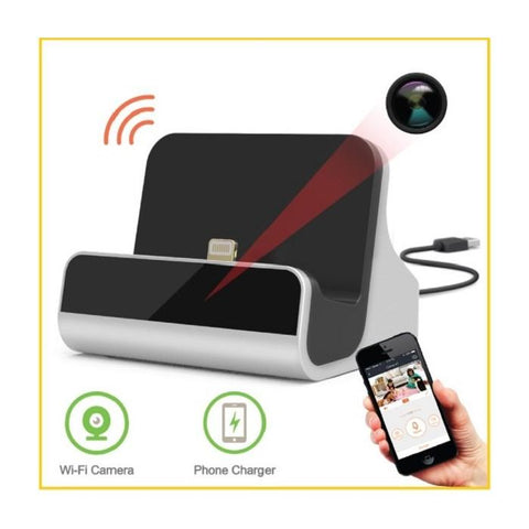iPhone Charging Dock Hidden Spy Camera 1080p HD WiFi