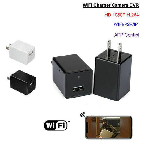 USB Cube Wall Charger Hidden Spy Camera Black 1080p HD WiFi