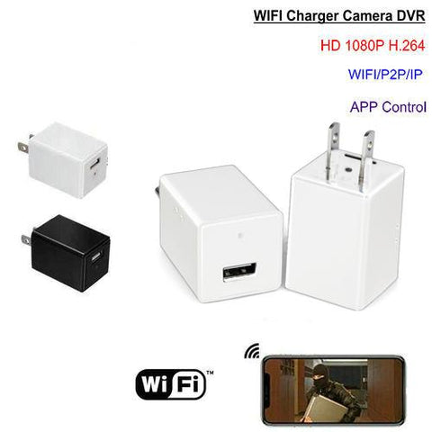 USB Wall Charger Cube Hidden Spy Camera White 1080p HD WiFi