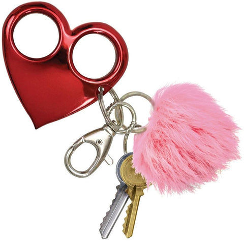 Heart Attack Self-Defense Keychain Knuckle Weapon Red